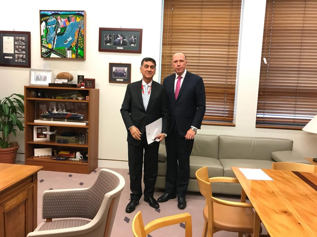 Meeting of High Commissioner for Pakistan with the Australian Minister for Home Affairs