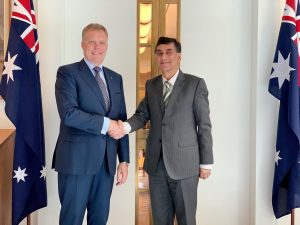 Meeting of the High Commissioner for Pakistan, Mr. Babar Amin with the Speaker of the House of Representatives in the Australian Parliament, the Hon Tony Smith MP