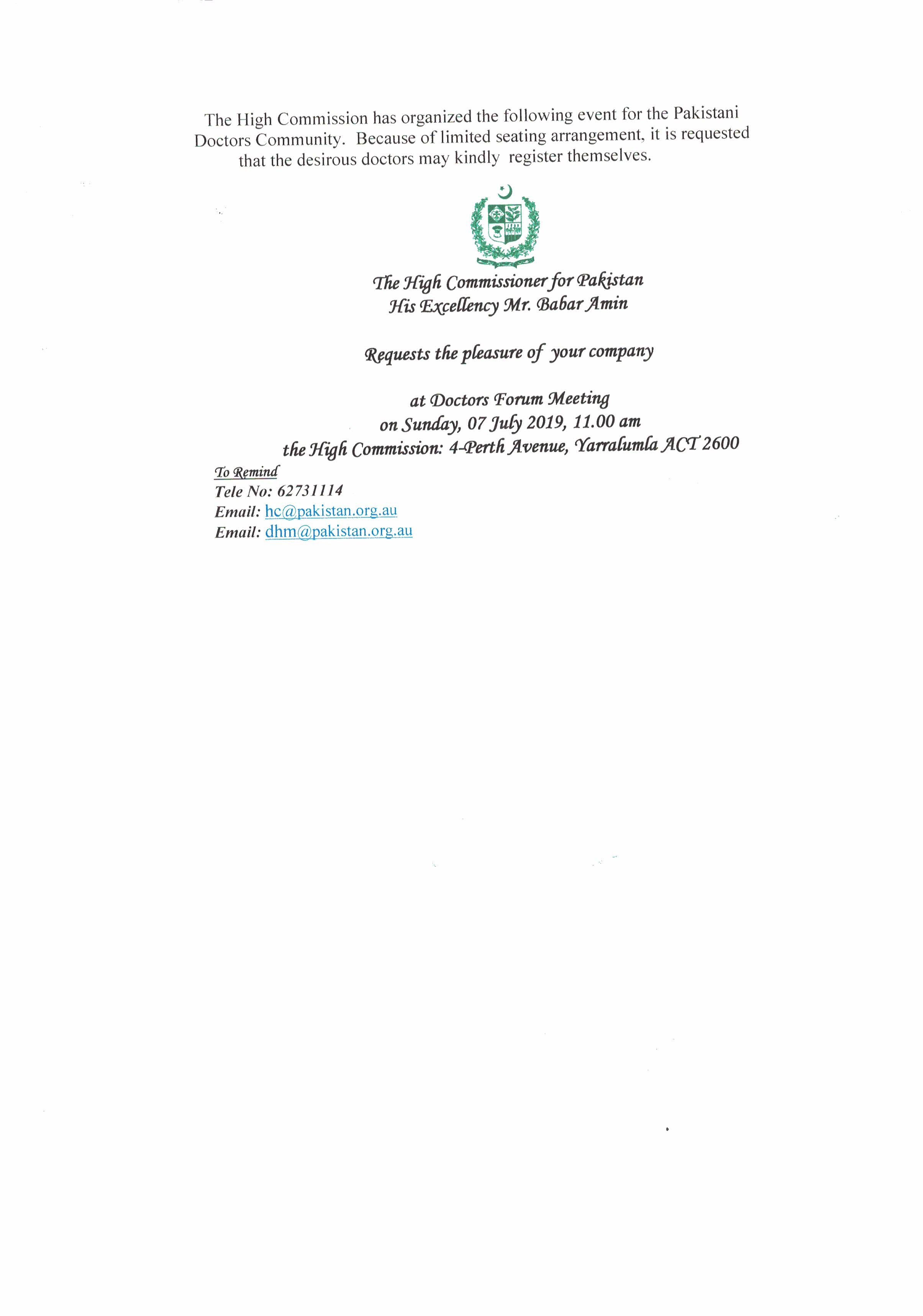 Doctors Forum Meeting – High Commission for Pakistan, Canberra