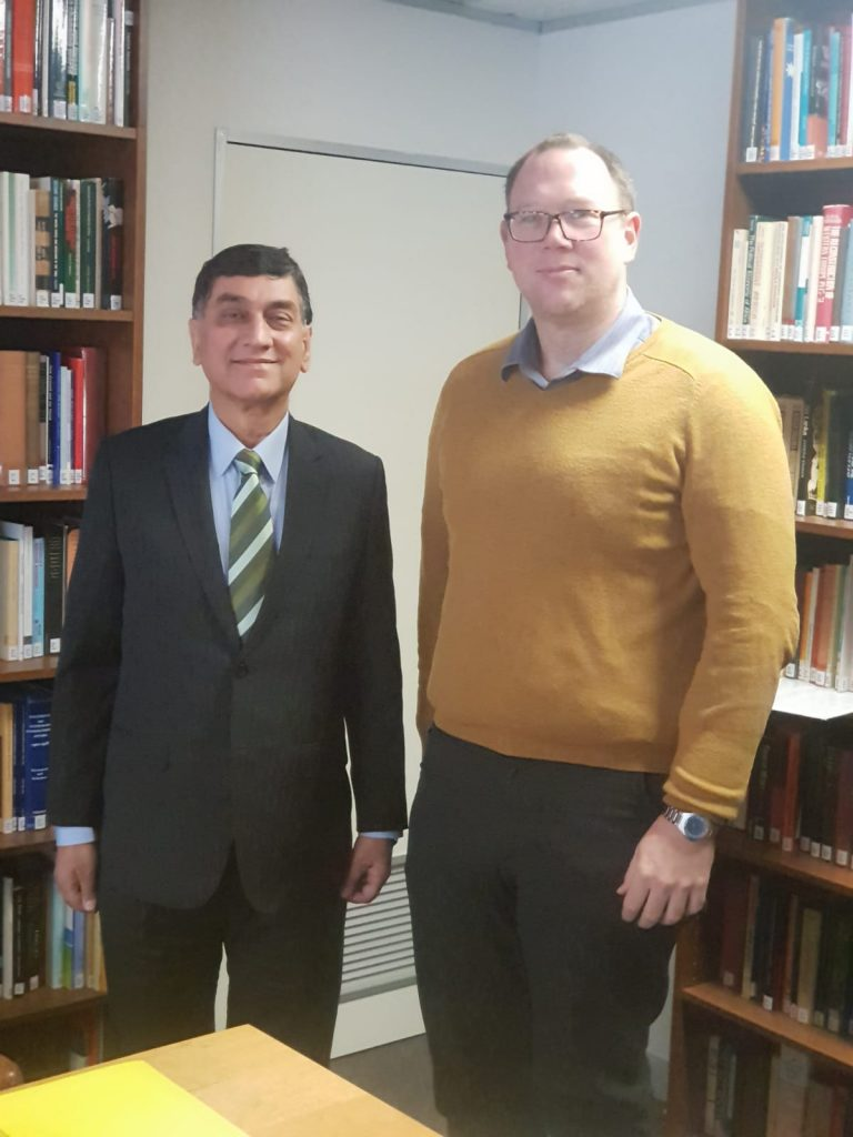 High Commissioner Babar Amin met with Executive Director of Australian Institute of International Affairs (AIIA) Dr Bryce Wakefield to discuss regional peace and security situation in South Asia.