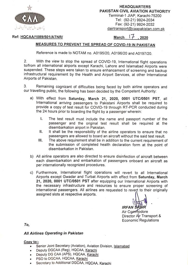 Measures to prevent the spread of COVID-19 in Pakistan