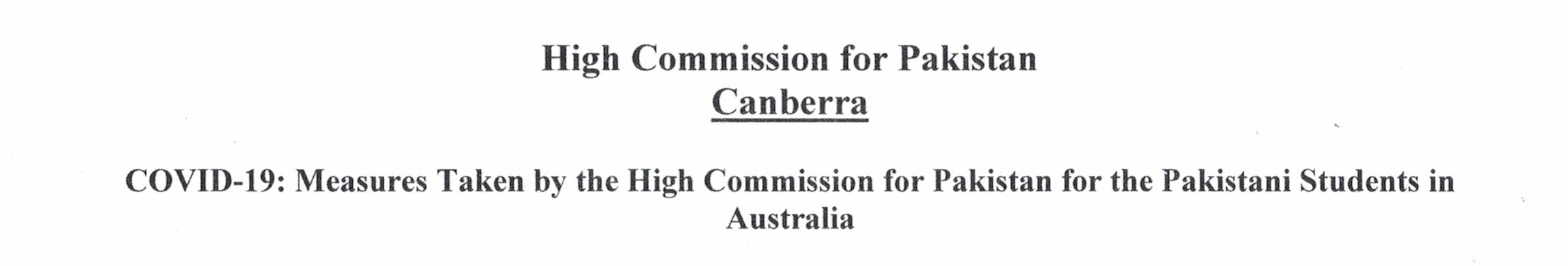COVID-19: Measures Taken by the High Commission for Pakistan for the Pakistani Students in Australia