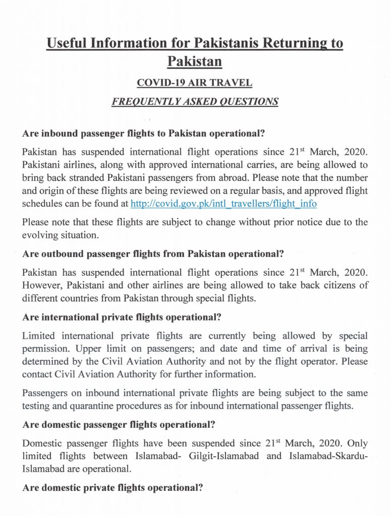 Useful Information for Pakistanis Returning to Pakistan