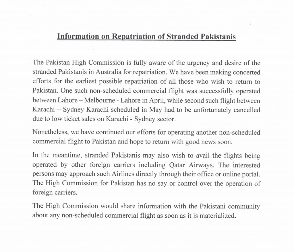 Information on Repatriation of Stranded Pakistanis