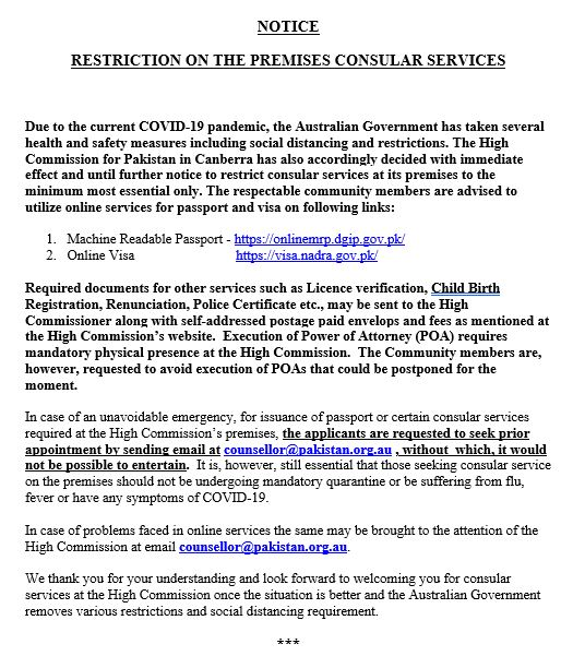 RESTRICTION ON THE PREMISES CONSULAR SERVICES