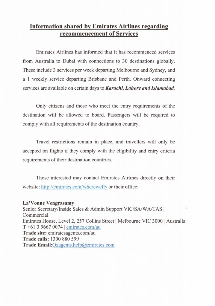 Information shared by Emirates Airlines regarding recommencement of Services