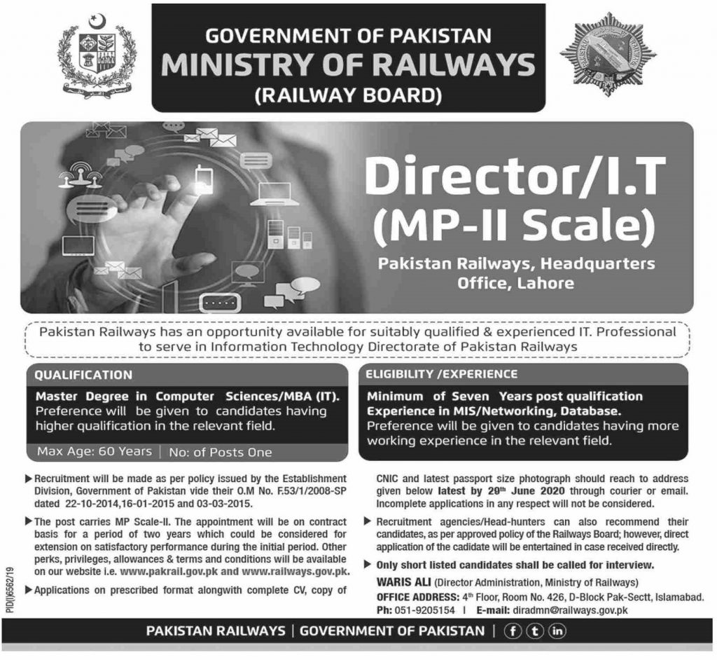 Appointment of Director/Information Technology (MP-II Scale) in Pakistan Railways, Hq Office, Lahore.