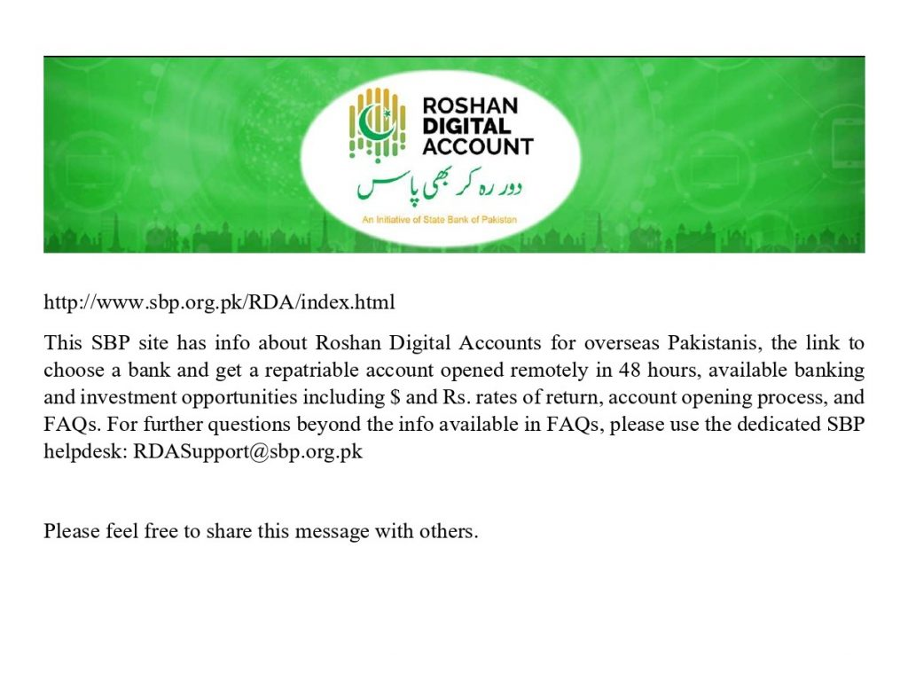 Roshan Digital Accounts for Overseas Pakistanis