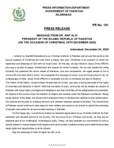 Message from Dr. Arif Alvi, President of Pakistan on the occasion of Christmas, 2020